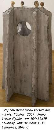 Stephan Balkenhol - Architektur mit vier Koepfen - 2007 - legno Wawa dipinto - cm 154x82x75 - courtesy Galleria Monica De Cardenas, Milano