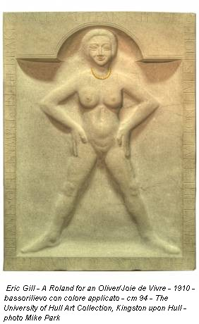Eric Gill - A Roland for an Oliver/Joie de Vivre - 1910 - bassorilievo con colore applicato - cm 94 - The University of Hull Art Collection, Kingston upon Hull - photo Mike Park