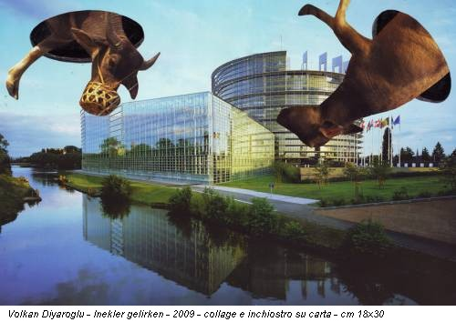 Volkan Diyaroglu - Inekler gelirken - 2009 - collage e inchiostro su carta - cm 18x30