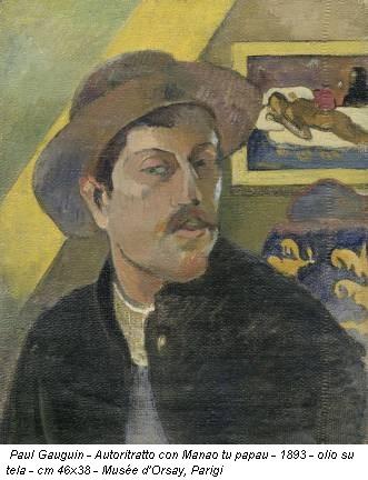 Paul Gauguin - Autoritratto con Manao tu papau - 1893 - olio su tela - cm 46x38 - Musée d'Orsay, Parigi