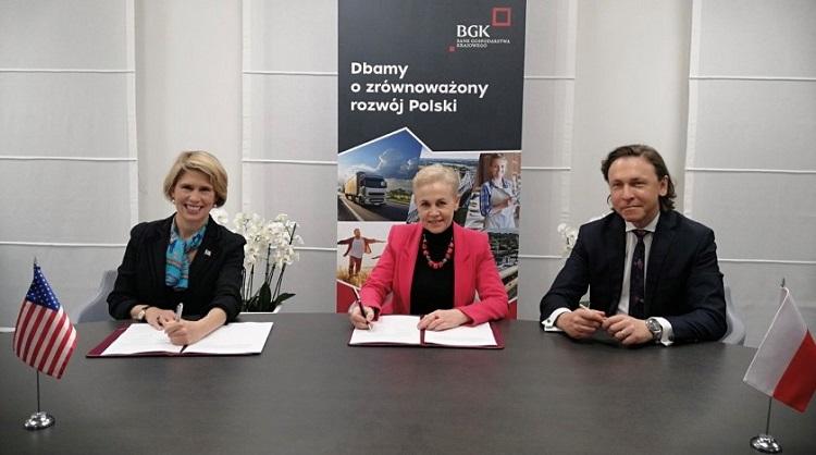 EXIM Chairman Kimberly Reed, BGK President Beata Daszyńska-Muzyczka, BKG First Vice President Pawel Nierada