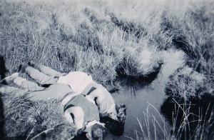 Albert and a friend drinking from the source of the Exe as young boys (c. late 1940s).