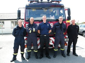 Members of the Red Watch crew, from left to right: Adam Jones, Stuart Kalbert, Watch manager Pete Merrilees, Scott Martin and Martin Lord. Photo by Avril Stone.