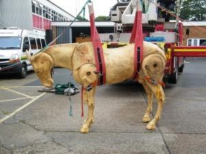 Dobbin, the horse manikin at Barnstaple Fire Station.  Photo by Avril Stone.