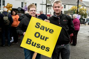 John and Sarah Withers who travelled from Birmingham to show their support for the campaign. John and Sarah both use the bus services when they holiday in Porlock every year. Photo: Andrew Hobbs