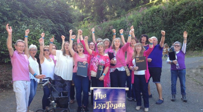 LYNMOUTH SINGERS PITCH IN TO HELP SAVE BRIDGE