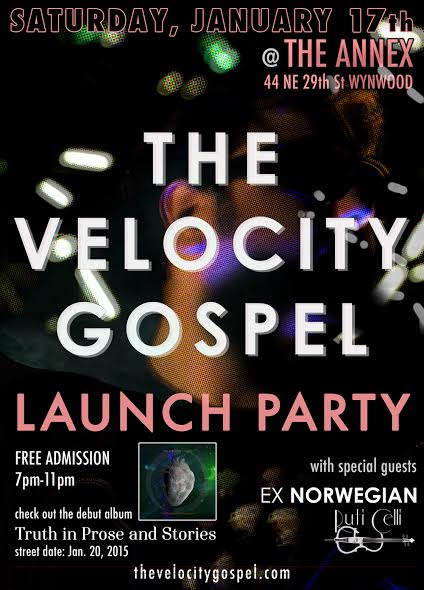The Velocity Gospel launch party flier