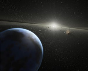 An artist's impression of a massive asteroid belt in orbit around a star. The new work with SDSS data shows that similar rubble around many white dwarfs contaminates these stars with rocky material and water. Credit: NASA-JPL / Caltech / T. Pyle (SSC).