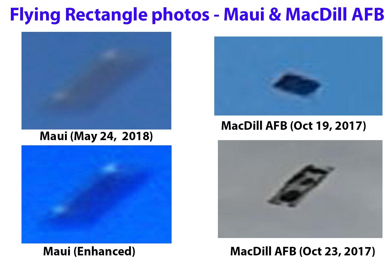 Разрушил ли Летающий прямоугольник Ядерную баллистическую ракету, нацеленную на Гавайи?  Maui-and-MacDill-AFB-fling-rectangles-compared