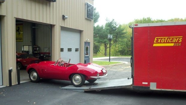 newly painted 1954 Arnolt Bristol (returning to owner)