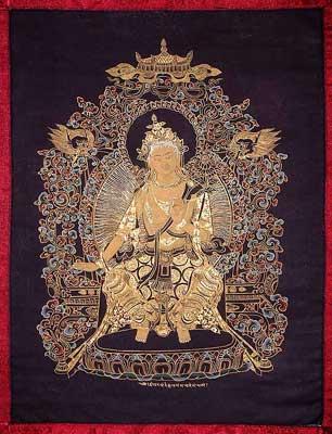 Black Tibetan Thangka Painting