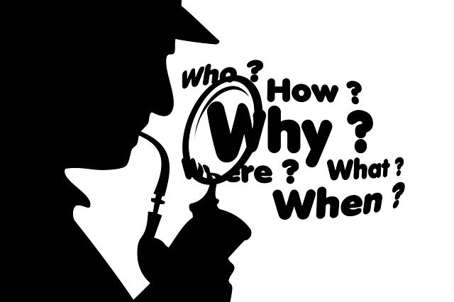 Silhouette of Sherlock Holmes investigating the who, what, when, where, why, how.