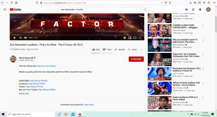 Youtube page of X Factor with contestant Zoe Alexander