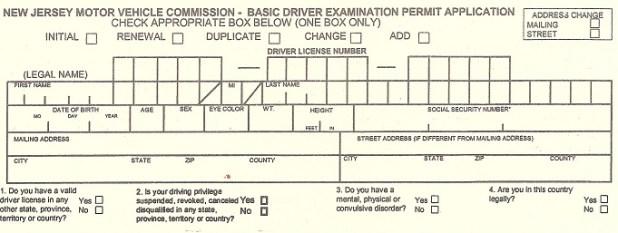 New jersey driver license application form ba 208 for Nj motor vehicle registration form