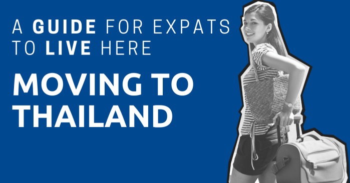 A women with roller luggage and the title: Moving to Thailand: A Guide for Expats to Live Here