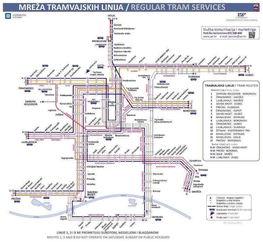 ZET Zagreb Day Tram Map