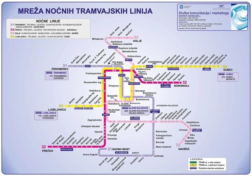 Zet Zagreb Day Night Tram Maps Expat In Croatia