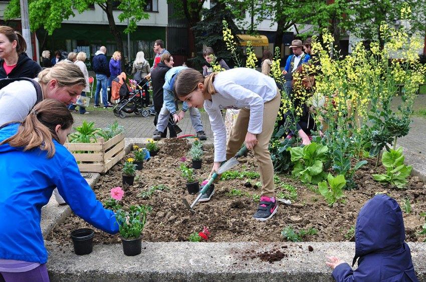 Volunteer children gardening in Zagreb