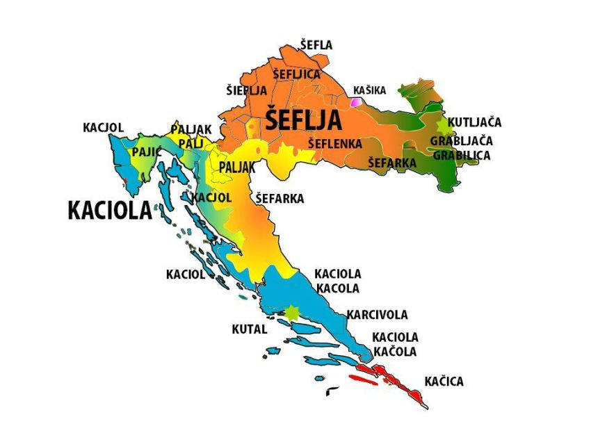 Croatian dialect differences across the country