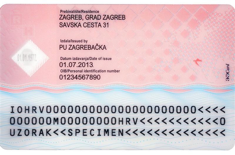 Back Side of Croatian National ID Card