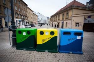 Plastic and metal recycling bin in Croatia