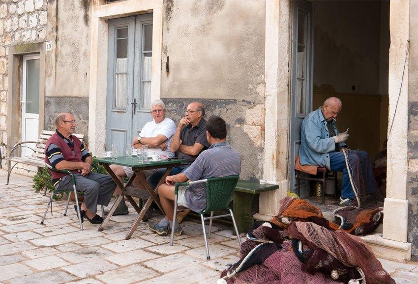 Retired men on pension in Croatia
