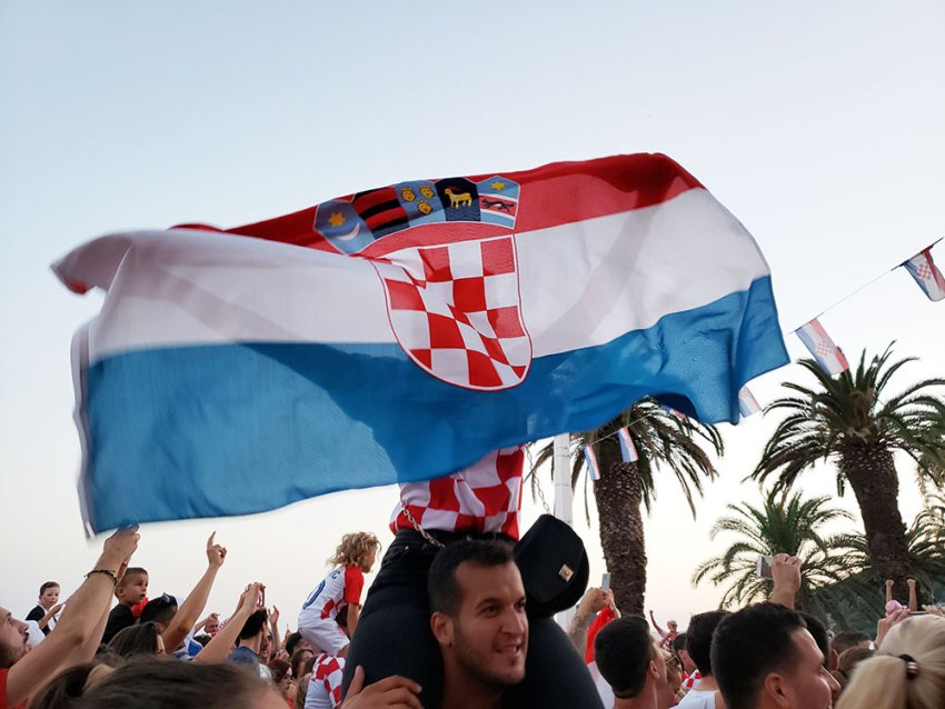 Croatian waving flag of Croatia at World Cup