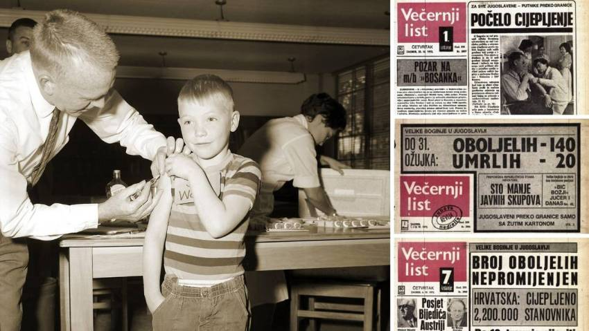 Child being vaccinated against smallpox during Yugoslav epidemic