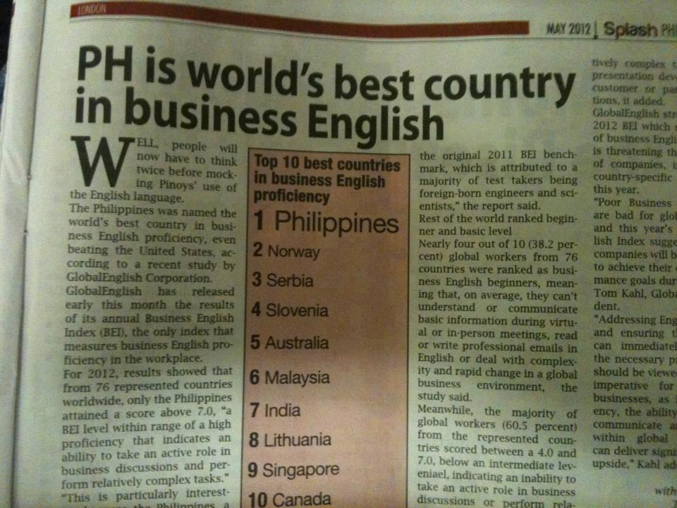 Philippines ranks #1 in Business English Profiency