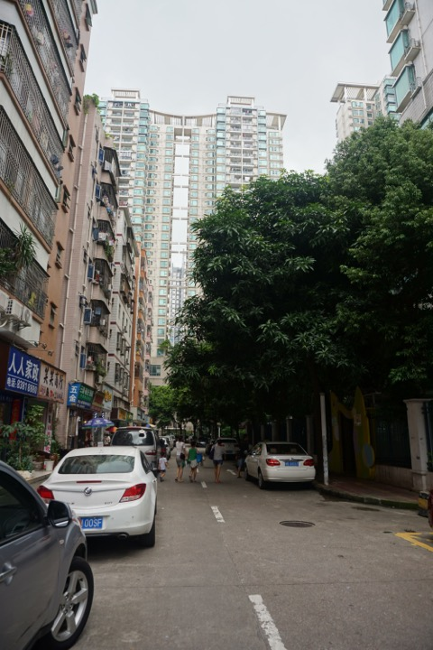 Street lined with tall buildings