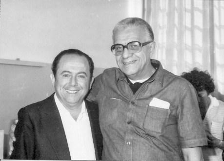 FEESP (1983): João Batista Laurito (presidente) e Américo de Oliveira Borges (presidente da Abrajee), por ocasião da presença do médium Edson Queirós.