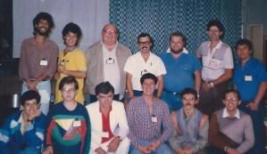 A pequena equipe encarregada do operacional do IX Congresso Brasileiro de Jornalistas e Escritores Espíritas, realizado em São Paulo em 1986.