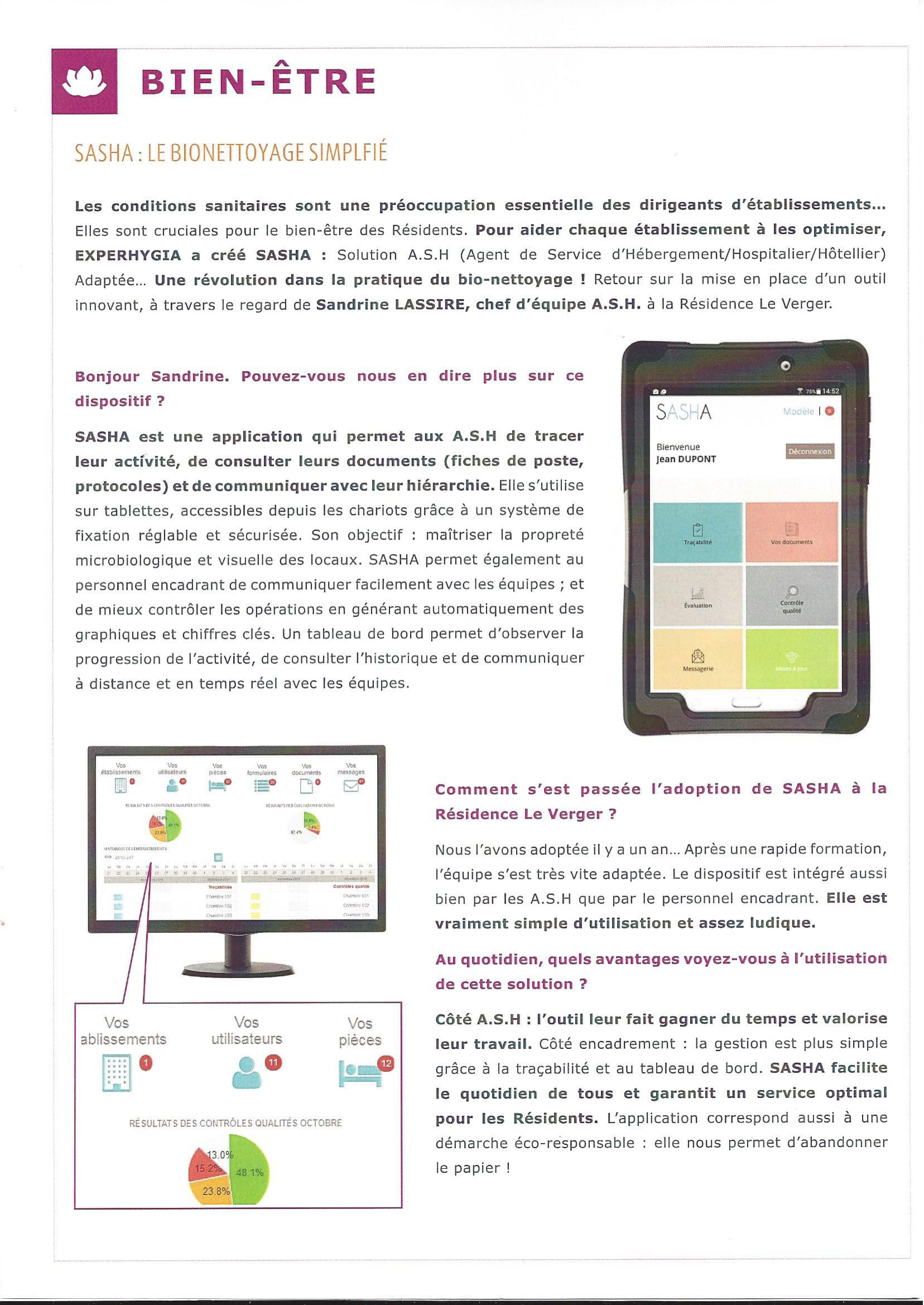 Newsletter EHPAD LE VERGER solution SASHA