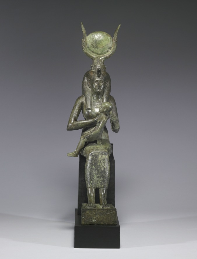 Egyptian God Horus with his mother Isis