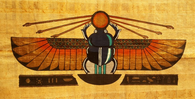 Egyptian Papyrus Art - Winged Scarab