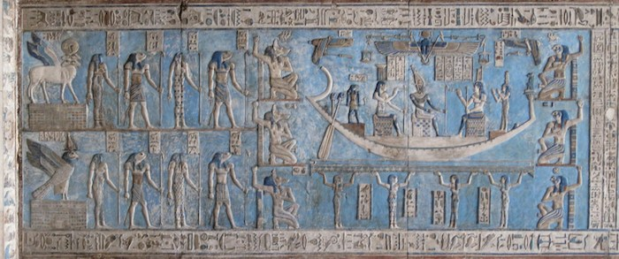 Dendera Temple Relief - Egyptian Goddess Isis on Solar Boat. Photo: Olaf Tausch