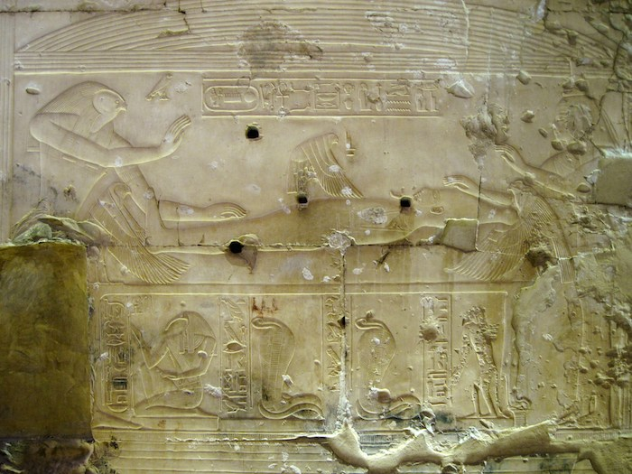 Abydos Temple Relief of Isis at a Kite-Hawk flying over Osiris. Photo by: Olaf Tausch