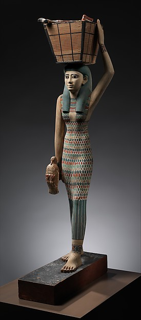 Ancient Egyptian Clothing - The woman is richly adorned with jewelry and wears a dress decorated with a pattern of feathers, the kind of garment often associated with goddesses. She is carrying offerings of meat and a duck. Tomb of Meketre. From MetMuseum.org, Rogers Fund and Edward S. Harkness Gift, 1920