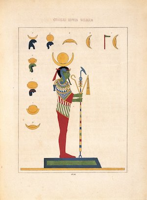 The god Ptah holding the composite staff with djed pillar, ankh and was scepter.