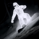 Un snowboarder tout en Led