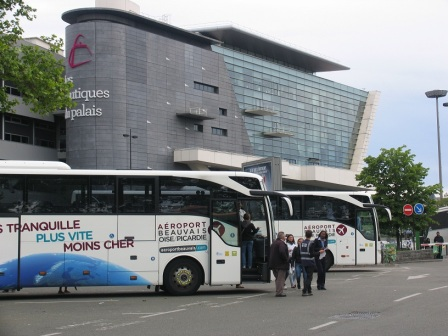 Beauvais to Paris Coaches drop you off at at the open air bus station on  Boulevard Pershing   opposite the Paris Congress Centre from where you can walk or head for a  metro