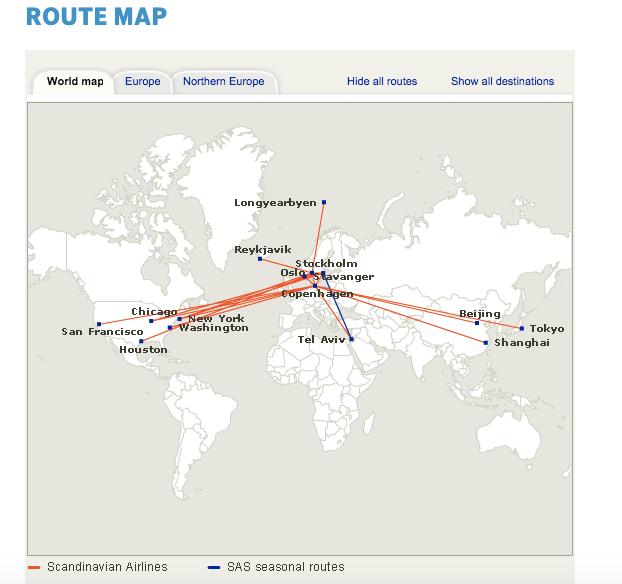 SAS Long Haul Routes
