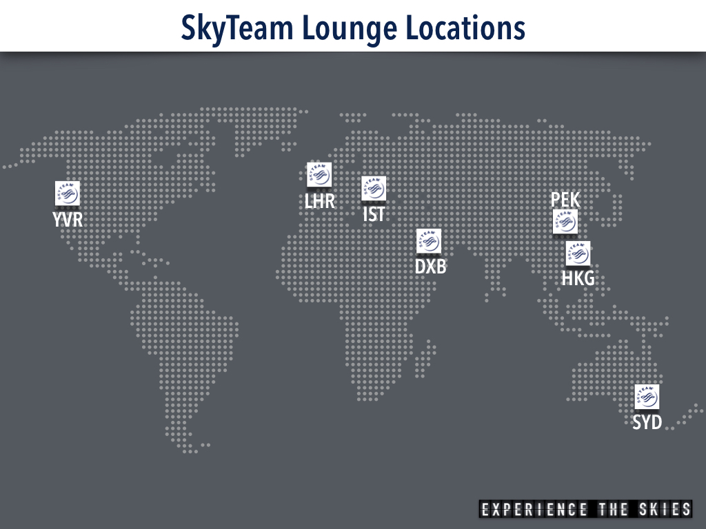 SkyTeam Lounge Locations (June 2017)