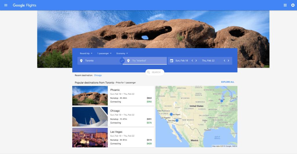 Google Flights Opening Screen
