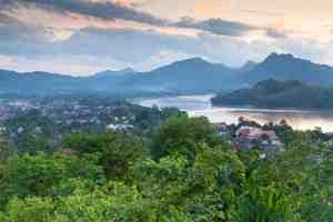 Evening view over Luang Prabang, Laos.