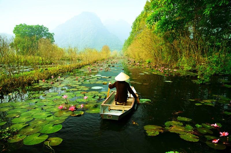 Yen stream on the way to Huong pagoda in autumn, Hanoi, Vietnam. Vietnam landscapes.