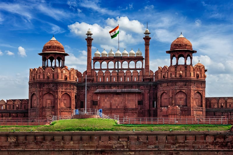 Red Fort Lal Qila with Indian flag. Delhi, India