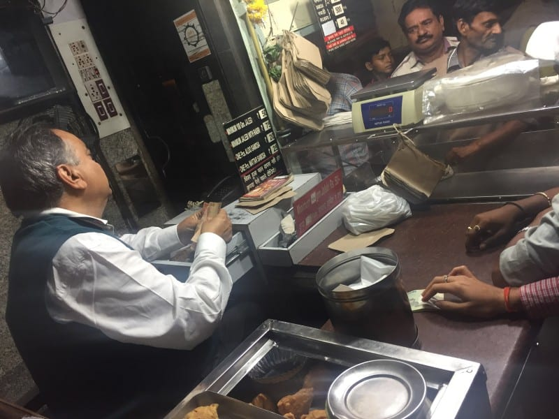 Enjoying street food in Delhi