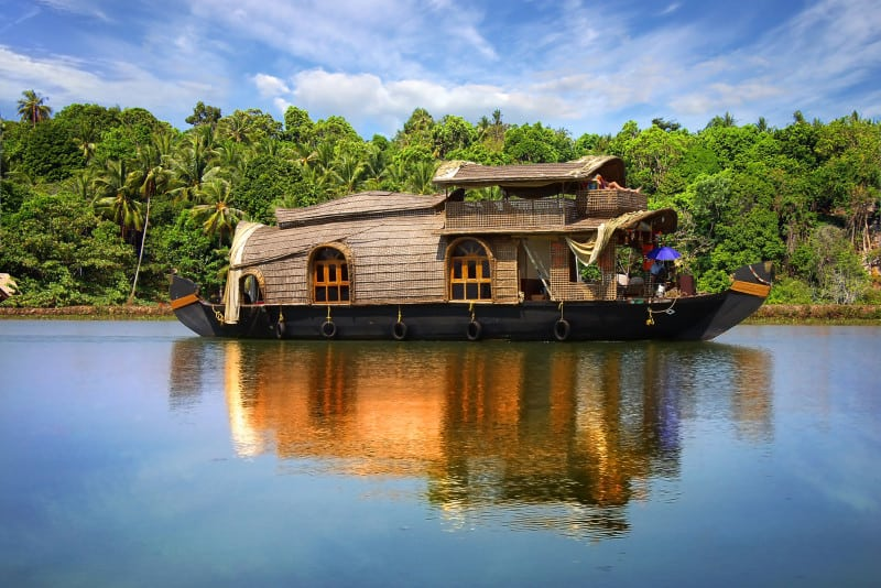 Houseboat in backwaters in India