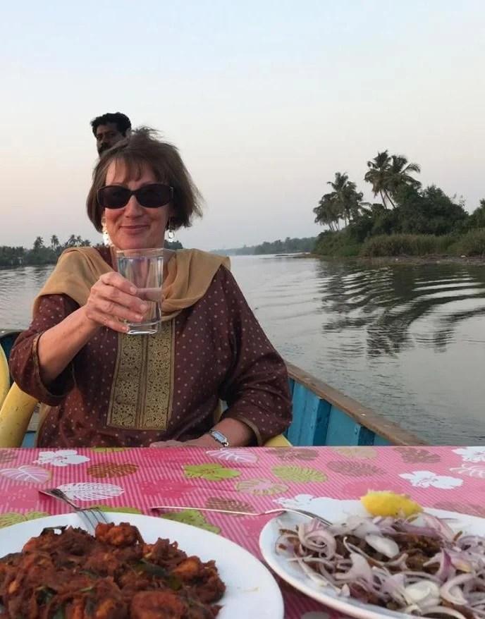 Traveller having dinner in Kerala